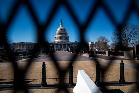 The U.S. Capitol, behind security fencing, on January 10, 2021.