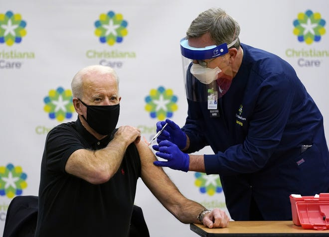 President-elect Joe Biden receives his second dose of the coronavirus vaccine at ChristianaCare Christiana Hospital in Newark, Del., Monday. [AP Photo/Susan Walsh]