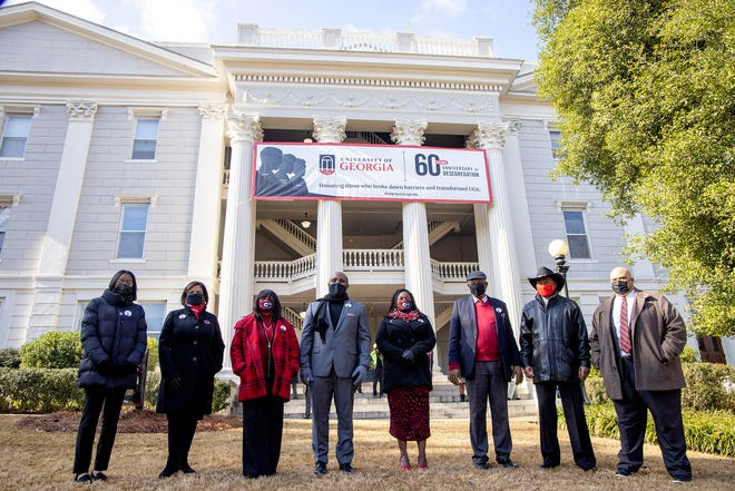The bell ringers in front of the Holmes-Hunter Academic Building during a ceremony to mark the 60th anniversary of desegregation at UGA.