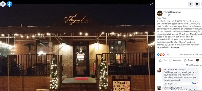 Thyme Restaurant in Medina has announced that it will close for two days and switch to all carry out beginning  Jan. 13.
