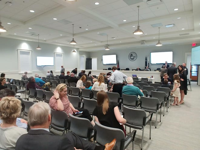 Inside the Bluffton Town Hall chambers during a 2019 council meeting. Mayor Lisa Sulka said council has chosen to continue meeting online rather than in person for the time being.