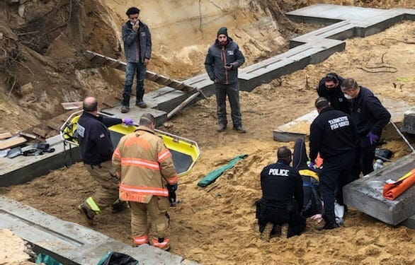A worker was injured Monday after a concrete slab fell on him at a home construction site on Cranberry Lane in South Yarmouth.