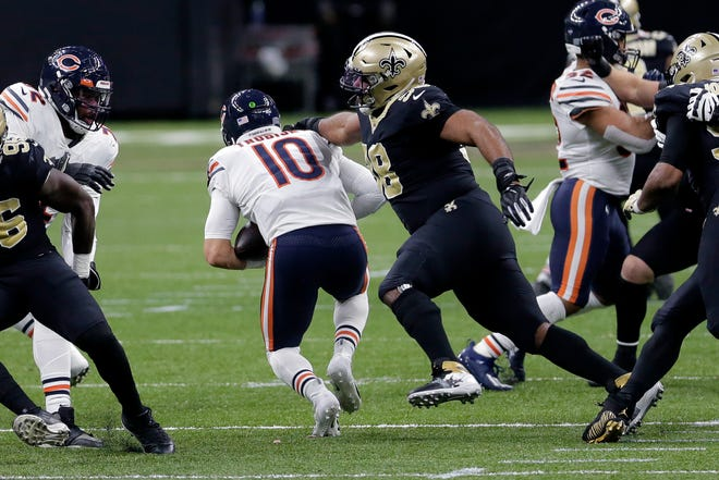 Bears quarterback Mitchell Trubisky is sacked by Saints  tackle Sheldon Rankins in New Orleans on Sunday.