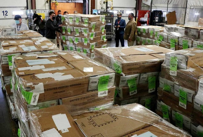 Boxes containing more than 237,000 absentee ballots were delivered in October by workers with the Franklin County Board of Elections to the U.S. Postal Business Mail Center at 2323 Citygate Drive in Columbus. The Franklin County Board of Elections mistakenly sent the wrong ballots to thousands of voters.