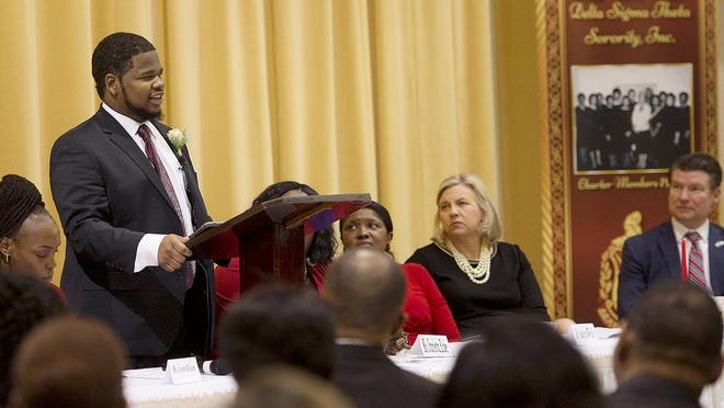 In an effort to stop the spread of COVID-19, many local groups have canceled this year's traditional celebrations and events to honor Dr.  Martin Luther King Jr. and his message of equality. In this file photo from 2019, Lexington City Councilman Garrett Holloway speaks to a crowd at First Baptist Church during the MLK Breakfast hosted by the Lexington Alumnae Chapter of Delta Sigma Theta Sorority, Inc.