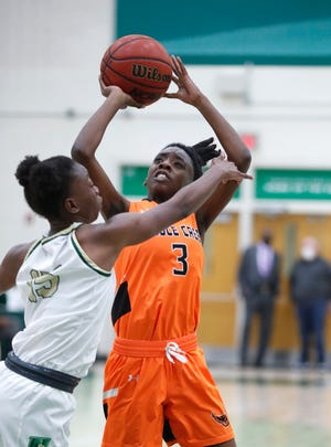 Richainti Harrell scored 19 points in Spruce Creek's victory over Ponte Vedra Nease on Friday evening. Jan. 8, 2021. The Hawks are 14-3. Nease is a St. Johns County powerhouse with a 14-3 record.