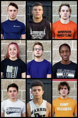 Sab Adler, Jason Henderson, Cooper Kidd (top) Lily Sherer, Cole Yankalunas, Danah Downer (middle) Dan Privatt, Preston Machado, and Hayden Kaylor (bottom) along with Damon Larkin and Conner Crescimanno (not pictured) make up the Delaware Valley Wrestling senior class.