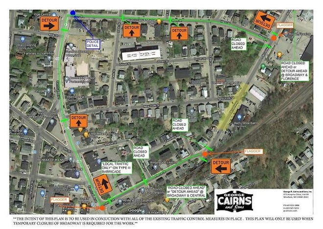 Detour map for temporary closure of Broadway in Dover.