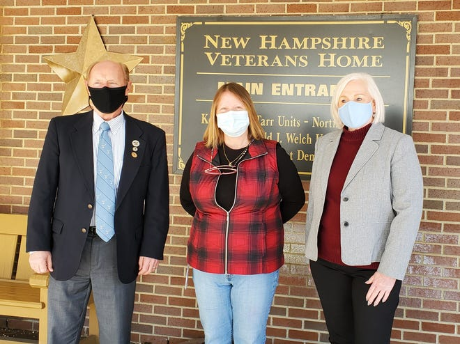 At the N.H. Veterans Home, left to right, are Norman Gervais, Rochester Lodge Secretary, PER and ENF Chair; Margaret Labrecque, Commandant, N.H. Veterans Home and Bonnie Skidds, Exalted Ruler. Not pictured is Don Chesnel, PER, Inner Guard.