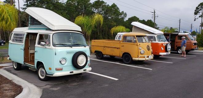 Classic Volkswagen campers and a rare Type 2 pickup are pictured during a recent show at the Classic Car Museum of St. Augustine.