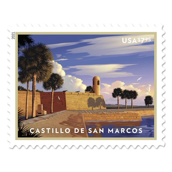 The new Priority Mail stamp, showing St. Augustine's Castillo de San Marcos.