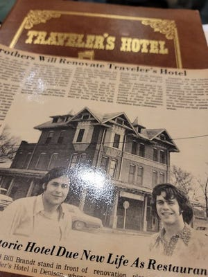 A newspaper clipping shows Denison's Traveler's Hotel when it was converted into a restaurant nearly 40 years ago. Now, new developers want to revive this use.
