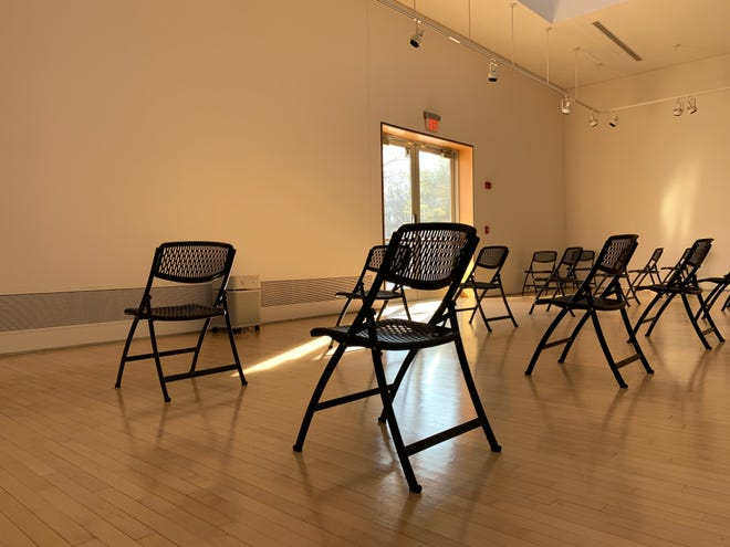 The Waiting Room for first responders to receive their COVID-19 vaccinations at Grimshaw-Gudewicz Art Gallery at Bristol Community College. Photos courtesy Kathleen Hancock.
