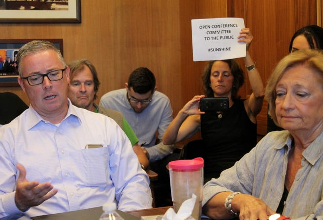 "Emily Norton, then director of the Sierra Club Massachusetts Chapter, held up a sign July 19, 2018 promoting ""sunshine"" and calling for members of a clean energy conference committee, including Reps. Thomas Golden and Patricia Haddad (foreground), to keep their talks open to the public rather than entering executive session."