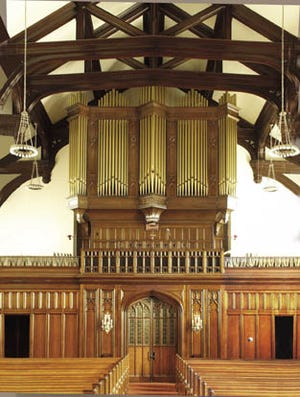 The organ at the First Congregational Church was installed when the current church building was erected in 1911.