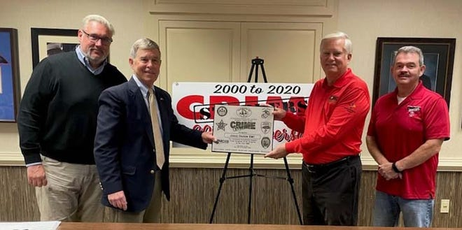 Crime Stoppers recently recognized Jones-Onslow EMC for over 20 years of superior support to the Jacksonville/Onslow County Crime Stoppers Program. Pictured are  Steve Goodson, VP Energy Services; Joe Yannessa, recently retired Chairman Crime Stoppers; Jeff Clark, CEO JOEMC and, Donnie Worrell, newly elected Chairman Crime Stoppers.