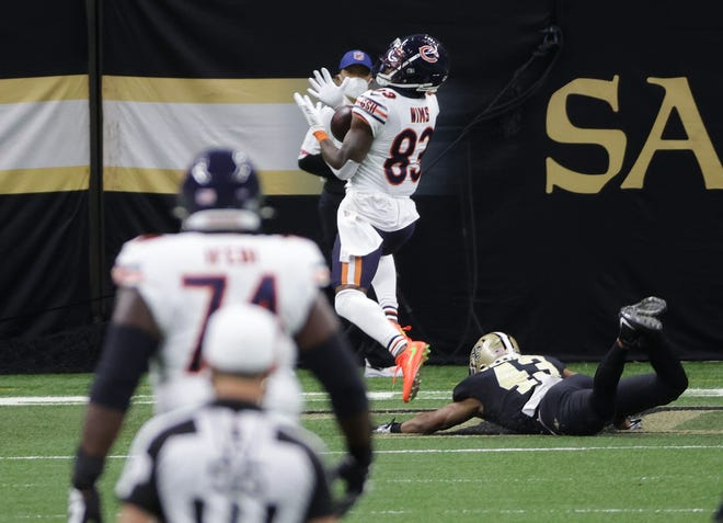 Jan 10, 2021; New Orleans, Louisiana, USA; Chicago Bears wide receiver Javon Wims (83) mishandles a pass ahead of New Orleans Saints free safety Marcus Williams (43) in the NFC Wild Card game at Mercedes-Benz Superdome. Mandatory Credit: Derick E. Hingle-USA TODAY Sports