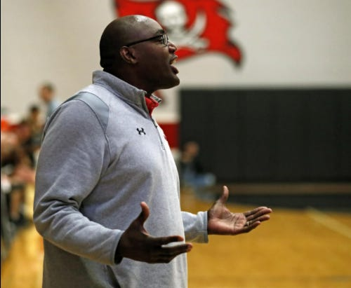 Lubbock-Cooper coach Will Flemons yells out to his players during a District 3-5A game against Amarillo on Jan. 14, 2020 at Lubbock-Cooper High School in Woodrow. The Pirates open District 4-5A play by hosting Abilene Wylie at 7:30 p.m. Tuesday.