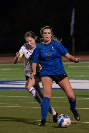 Midlothian's Taylor Thibodeau (15) maintains possession during a 2020 match against Red Oak. The Lady Panthers are off to an unbeaten start, with a win and two draws.