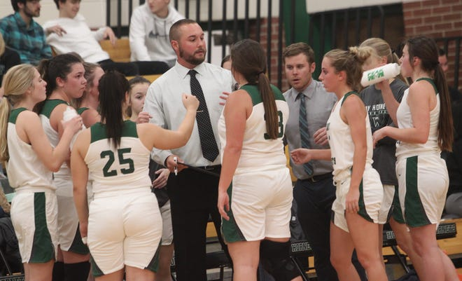 Westran varsity girls first year head coach Alex Thomas gives instructions to his team during a time out of a home game played earlier this 2020-21 season. The Lady Hornets snapped the program's 70-game losing streak Saturday by defeating Fayette 49-27 in the seventh place game of the New Franklin Tournament.