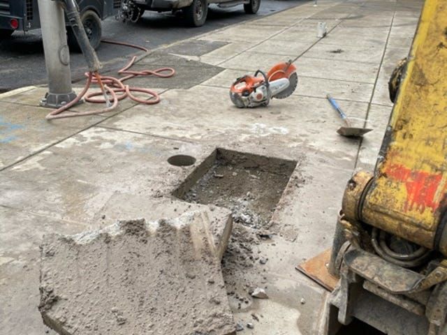 A private contractor cut through the conduit supporting the Lane County government's phone system Sunday, shutting down the county's phone and fax service, while digging under the sidewalk next to the Public Service Building.