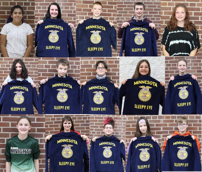 Eighteen members of the Sleepy Eye FFA Chapter were selected to receive their very own FFA jackets from the Blue Jackets Bright Futures Programs.—pictured top from left: Victoria Poplow, Presley Dockter, Noah Rossbach, Jake Price, and Samantha Ulrich. Middle: Delores Wold, Dallas Brazle, Alex Confer, Holly Sellner, and Jaelynn Schauman. Bottom: Jasmine Petermann, Alexys Odegard, Antonio Ruiz, Hana Zeig, and Bryson Dolly. Not pictured: Brandon Flores, Carter Swenstad, and Sophie Kyllonen.