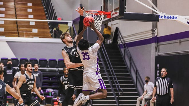 Tarleton's Jonathan Jackson Jr. led the Texans with a team-high 14 points during Saturday's 59-48 loss to Grand Canyon in Wisdom Gym.