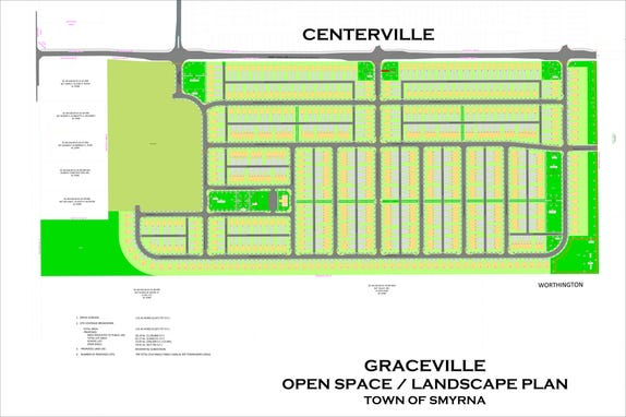 The plan for the Graceville subdivision includes 709 lots for 314 single-family home and 395 townhouses on the west side of Rabbit Chase Lane, across the road from the Centerville development which is under construction. In this plan, Rabbit Chase Lane is along the top, and Sunnyside Road is at left. The open space in light green on the left side is the proposed site for a new school, across the road from Sunnyside Elementary. SUBMITTED GRAPHIC