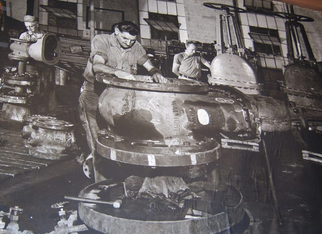 This photo shows some of the huge valves manufactured by Walworth in Kewanee, which advertised that they made valves ranging in size from 3 ounces to 3,000 pounds.