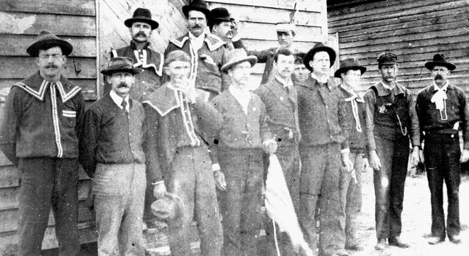 The only known photo of the Red Shirts, a paramilitary gang that worked to advance the white supremacist campaign of the Democratic Party between 1898 and 1900 in North Carolina. They are seen here at an Election Day rally in Laurinburg on Nov. 8, 1898. The Red Shirts were some of the main perpetrators of the violence during the 1898 Wilmington Massacre.