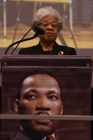 Bertha Todd speaks at Williston Middle School to mark the 50th anniversary of Martin Luther King Jr.'s assassination in 2018.
