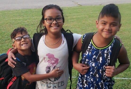 From right: Alejandro, 11, Marrina, 9, and Damian, 7.