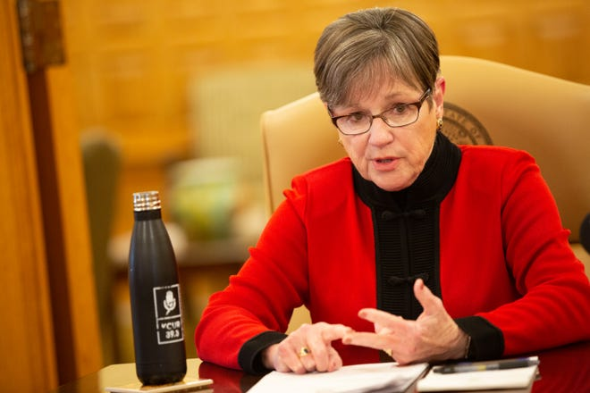 Gov. Laura Kelly talks with The Capital-Journal Wednesday from her office in the Statehouse.