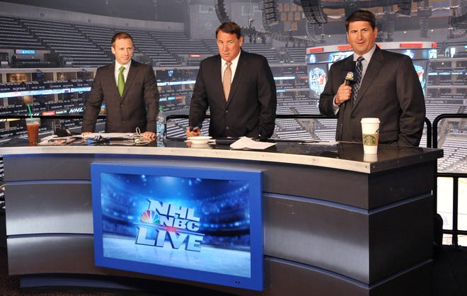 Mike Milbury, center, will no longer appear on NBC broadcasts.