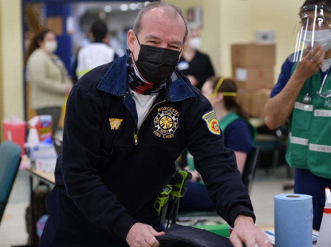 Fire Chief, Michael J. Lavoie, shown in January prior to receiving a vaccination at the Senior Center.