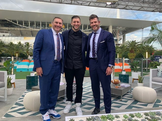 Gator gathering at Hard Rock Stadium in Miami Gardens on Monday: UF coach Dan Mullen, left, and former Gators quarterbacks Tim Tebow, center, and Jesse Palmer.