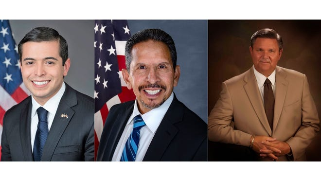 From left: Pueblo County Commissioners Garrison Ortiz and Eppie Griego; and District Attorney Jeff Chostner are seen in their official portraits.