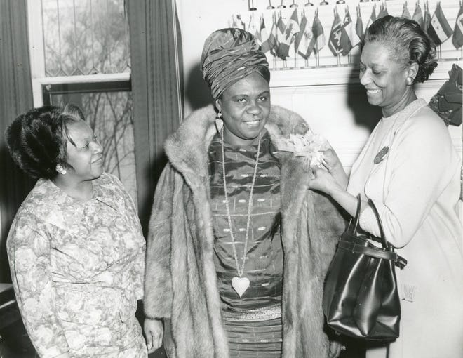 "Angie Elizabeth Brooks (center), Liberian diplomat, visited Columbus in 1970. In 1969, Brooks was chosen as president of the United Nations General Assembly and took office in 1970. She was the second woman – and the only African woman – to preside over the U.N. While in Columbus, Brooks delivered a speech on ""Potentials of Youth in International Affairs"" at Ohio State University. She spoke about racial disparities in the United States, saying, ""You can't talk about liberty and justice and treat people differently."" Brooks died Sept. 9, 2007, at age 79."