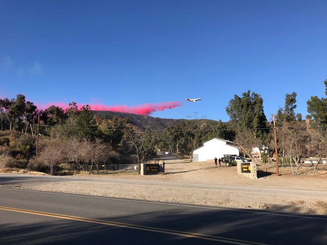 Firefighters responded to a blaze just off Old Cajon Boulevard just before 3 p.m. and had 95% containment as of Monday morning.
