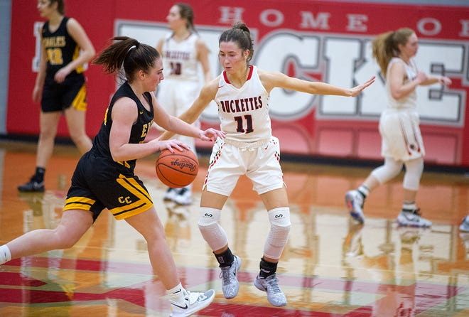 Colonel Crawford's Kaylyn Risner tries to drive past Buckeye Central's Emily Siesel.