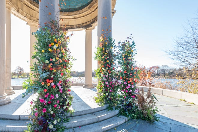 Classical gazebo of marble rests on a lake bank in Franklin Delano Roosevelt Park in South Philadelphia, the site of the Philadelphia Flower Show to be held for the first time outside this year and in June.