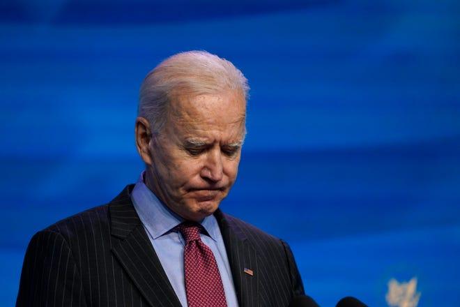 Dalam file foto 8 Januari 2021 ini, Presiden terpilih Joe Biden berbicara selama acara di teater The Queen di Wilmington, Del.