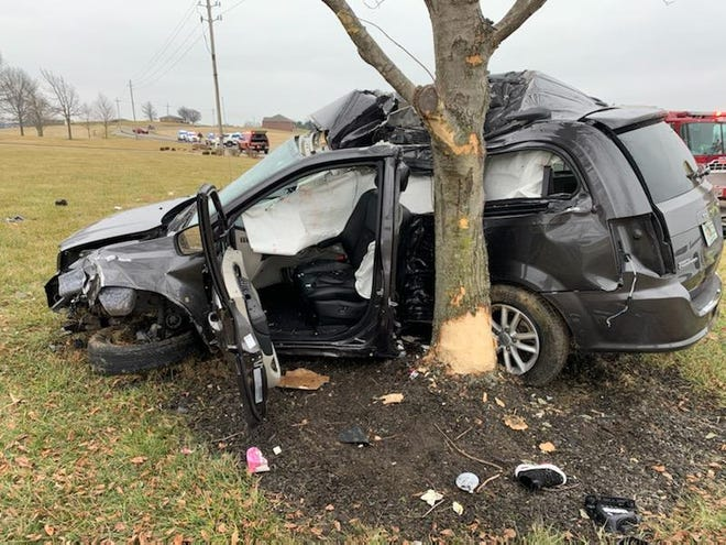 The scene of a crash in which two people sustained life-threatening injuries, Sunday January 10. The single-car accident occurred on Big Cynthiana Road south of West Baseline Road.