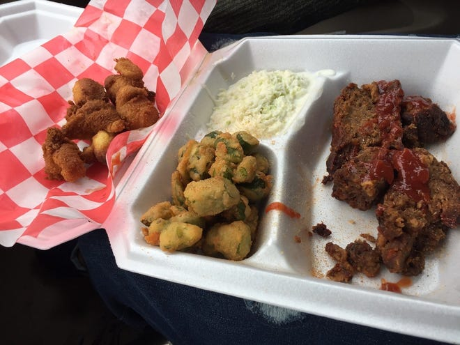 Meatloaf, fried okra and cole slaw are on the menut at the Olive Street Soulful Market & Deli.