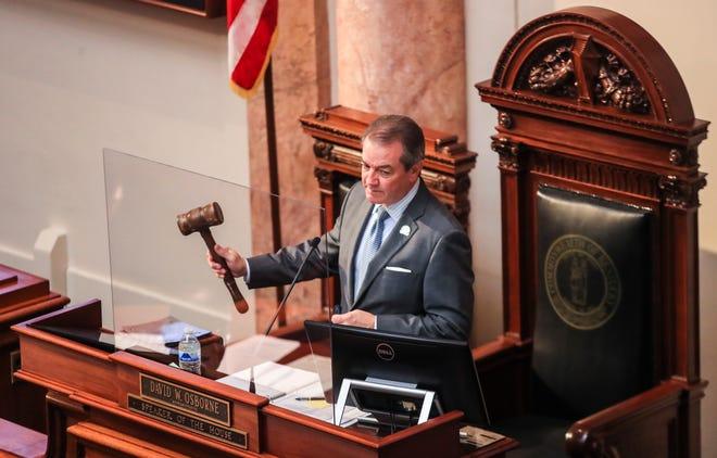 Kentucky House Speaker David Osborne presides over the General Assembly on Monday.