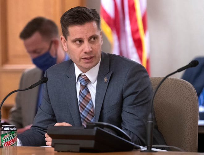 State Sen. Chris Kapenga, R-Delafield, is shown during a hearing regarding COVID-19 by the Committee on Senate Organization Monday, Jan. 11, 2021, at the Capitol in Madison, Wis.