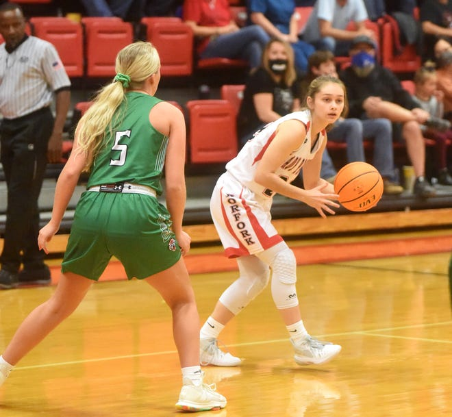 Norfork's Eva Maple looks for an open teammate during a recent game. The Lady Panthers moved into Class 1A's Top 5 after a win over West Side Greers Ferry last week.