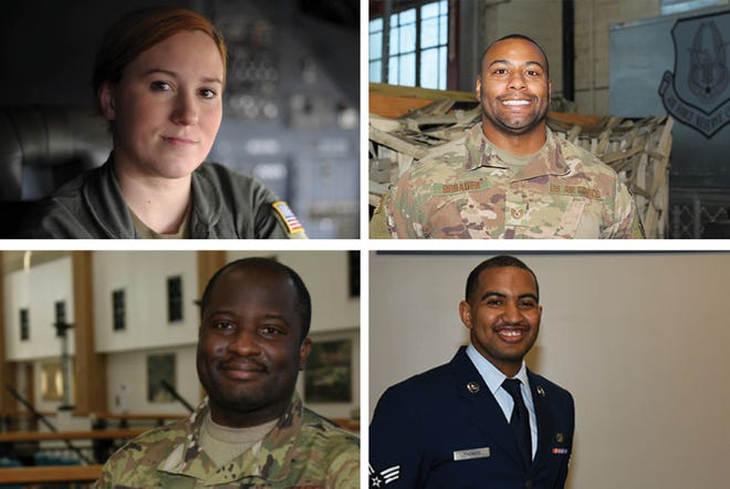 Members of the 908th are, clockwise from top left, Staff Sgt. Janie Murray, Tech. Sgt. Gary Broaden, Senior Airman Augusta Thomas. and Chief Master Sgt. Otis Luke.
