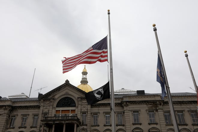 Gov. Phil Murphy has ordered all U.S. and New Jersey state flags in the Garden State (shown here in front of the Capitol Building in Trenton) to fly at half-staff in memory of  United States Capitol Police Officer Brian D. Sicknick, who lost his life at the US Capitol last week. Monday January 11, 2021Monday January 11, 2021
