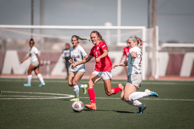 Farmington High soccer alumna Hannah Kelly-Lusk, center, has earned seven Lone Star Conference accolades so far at NCAA Division II West Texas A&M, including LSC Player of the Year honors in 2018 and First-Team All-LSC honors in both years.